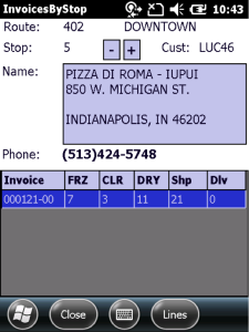 View stop information, including address, contact information, and pieces by temperature.